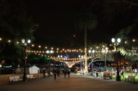 String lights lighting up Plaza de Cesar Chavez