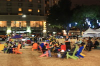 Adirondack chairs and fire pits, Plaza de Cesar Chavez