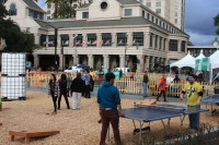 Ping pong tables at Plaza de Cesar Chavez